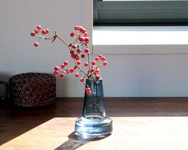 ホルムガード フローラ ベース 12cm ロング ブルー Holmegaard Flora vase 【花瓶 マウスブロウ(手吹