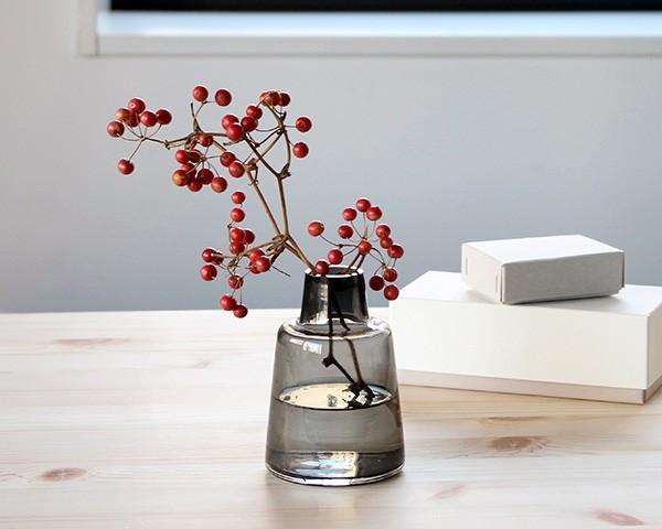 ホルムガード フローラ ベース 12cm ショート スモーク Holmegaard Flora vase 【花瓶 マウスブロウ(