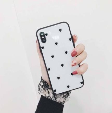 ★白色黒ハート、iphone7・8★ iphoneケース ハ...