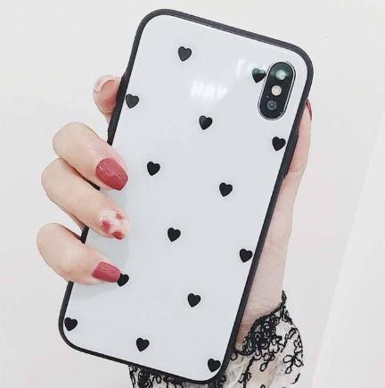 ★ (白色黒ハート、iphoneX) iphoneケース ハー...