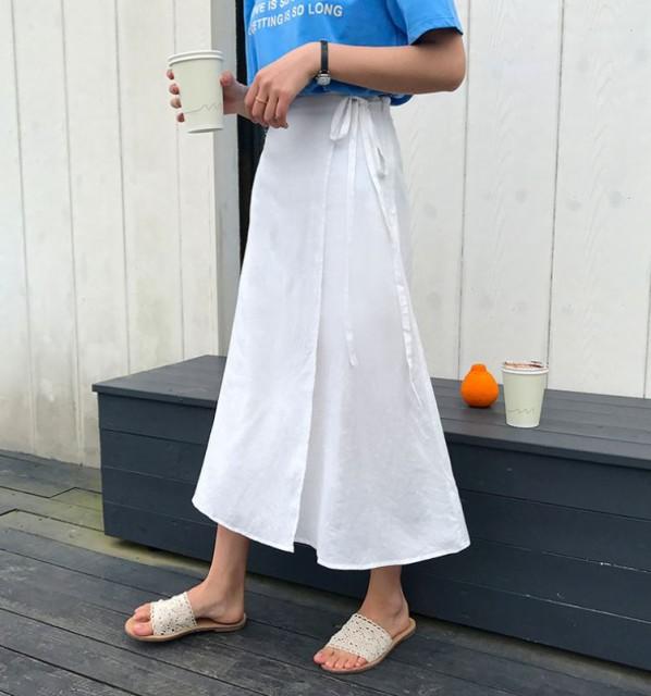ロングスカート 巻きスカート風ロングスカート リ...