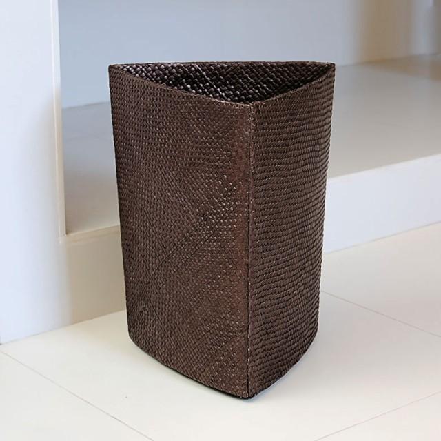 ゴミ箱 パンダンで編まれたゴミ箱 三角型 ハイク...