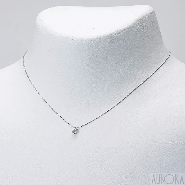☆18金ホワイトゴールド  プチダイヤネックレス0....