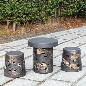 陶器15号唐草 ガーデンテーブルセット お庭 ベラ...