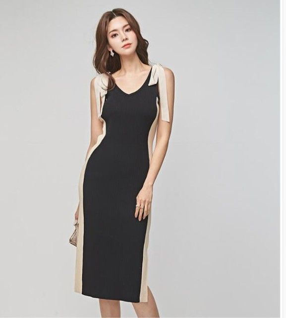 2019新作 Vネックナイトドレス ミディアムドレス...