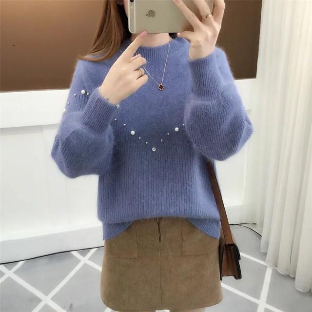 トップス セーター 人気 ビーズ オシャレ オフィ...