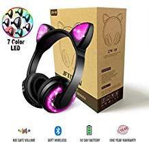 JFtown ワイヤレス Bluetooth LED 猫耳ヘッドフォ...