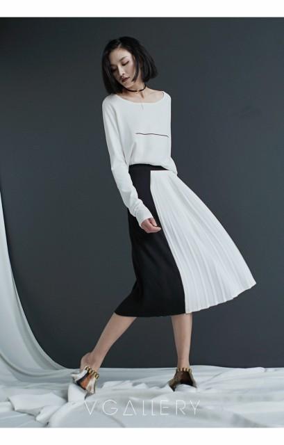 白×黒シフォンミディスカート