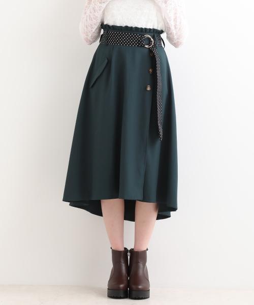 秋冬 ドット柄ベルトがかわいいラップスカート