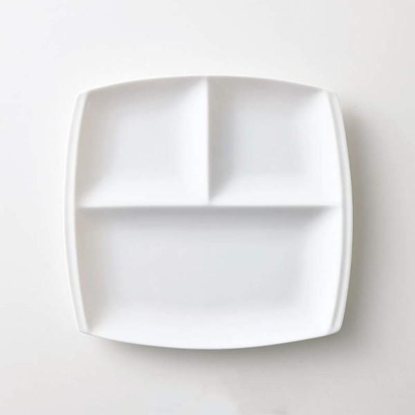 小田陶器titto(チット) 3つ仕切皿(角) 白