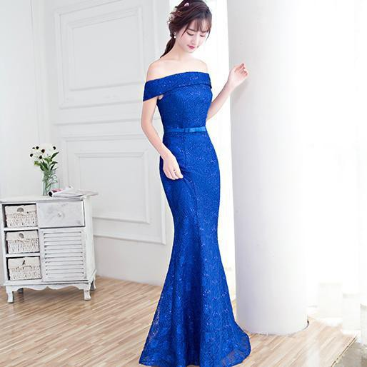オフショルダーマーメイドドレス(ブルー)結婚式 ...