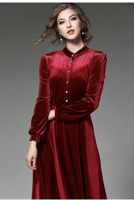 ベルベットスタンドカラードレス(レッド)パーテ...