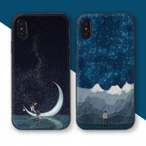 カップル 女と月 男と星空 スマホケース iPhoneXR...