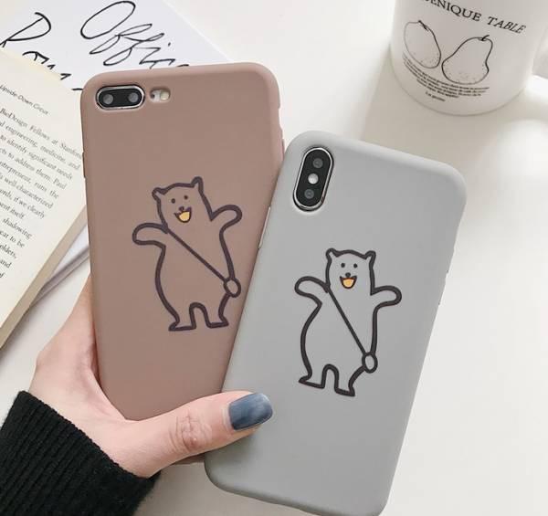 カップル 可愛いクマ シリコン スマホケース iPho...