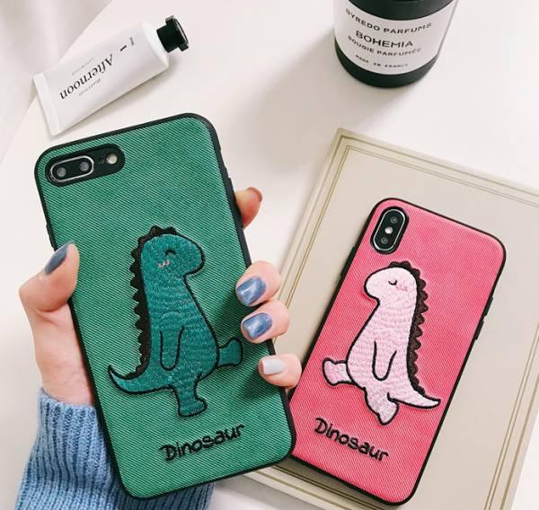 カップル カワイイ 恐竜 刺繍 スマホケース iPhon...