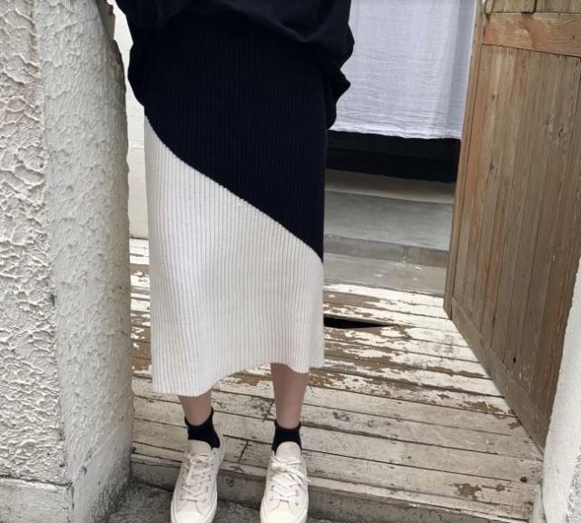 バイカラー リブスカート アシメ 黒白 モノト...