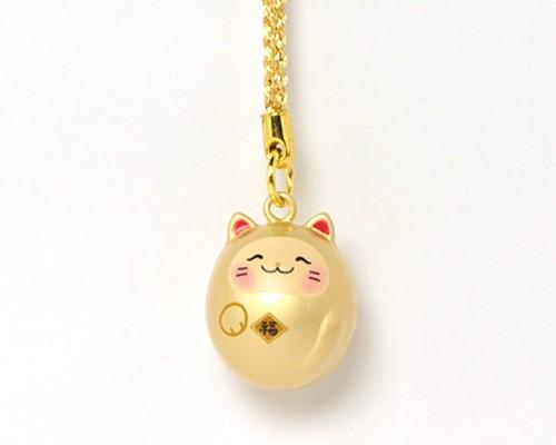 福音鈴 招き猫 (黄金色)