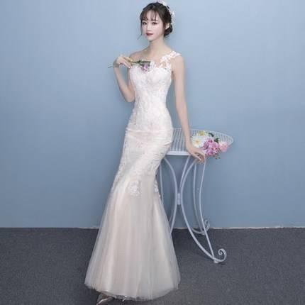 レース刺繍 マーメイド ロングタイトドレス ウェ...