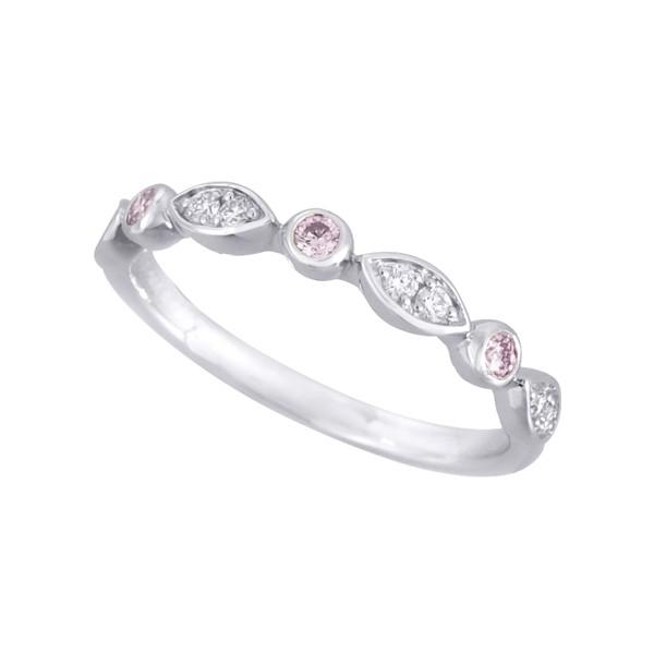 ピンクダイヤモンドリング(アーガイル/リーフ/プ...