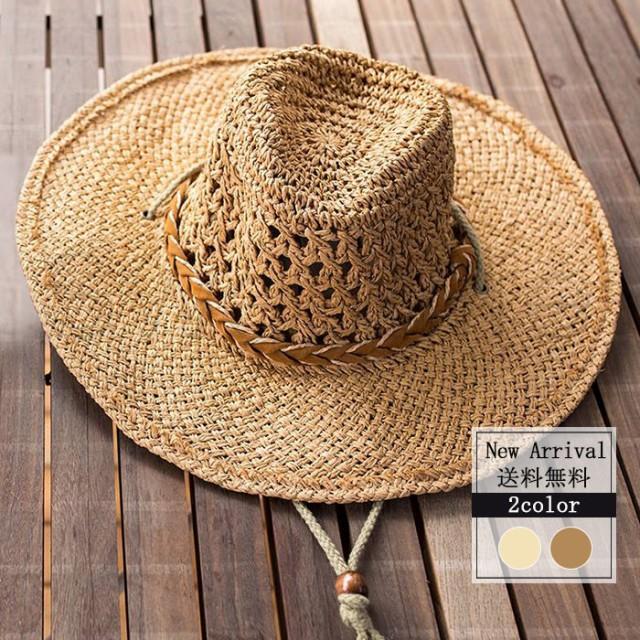 麦わら帽子 メンズ つば広帽子 UVカット 送料無料 夏新作 紫外線対策 ストローハット 日焼け止め あごひも 登山 釣り 農作業