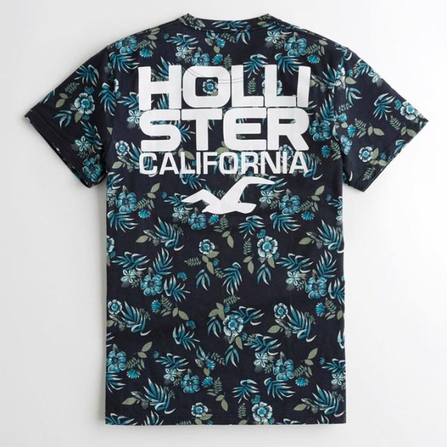 ホリスター メンズ 半袖Tシャツ フローラル ロゴ ...