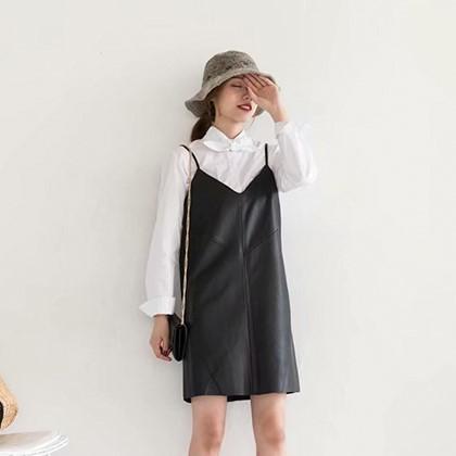 キャミワンピ PUレザー スカート ドレス V...