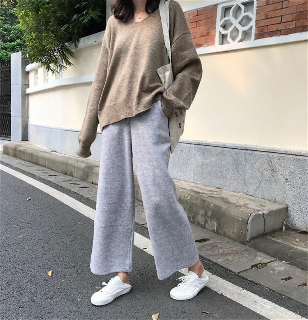 トレンド☆リラックスワイドゆるパンツ ニットパ...