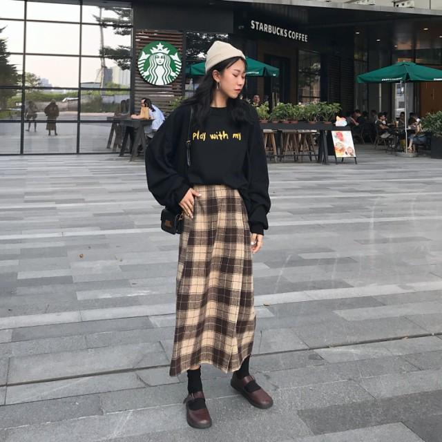トレンド☆ブロックチェックラップスカート フレ...