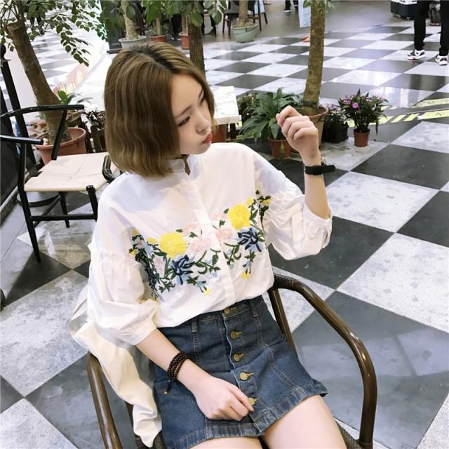 花柄刺繍シャツ ブラウス 花 大花 スタンドカ...