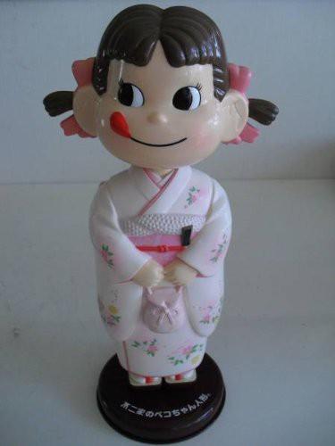 不二家のペコちゃん人形 首ふり着物人形 白(中...