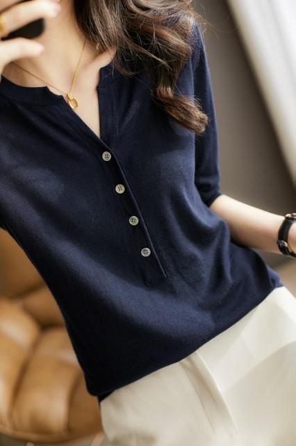 シルクニット 半袖VネックTシャツ