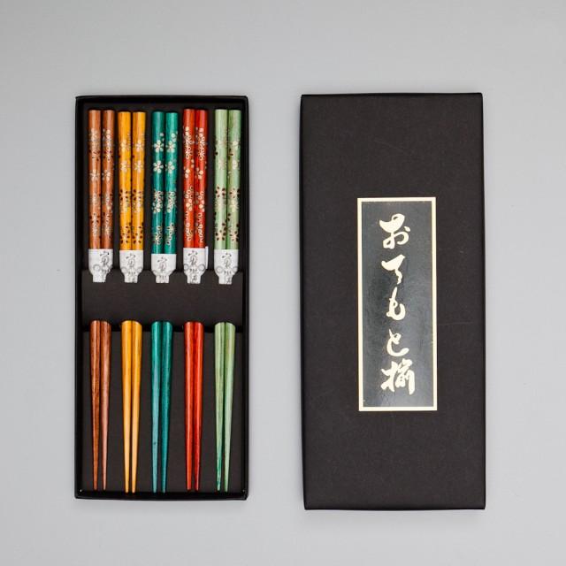 天然木製 箸 5膳セット 彩り花 ギフトBOX入り...
