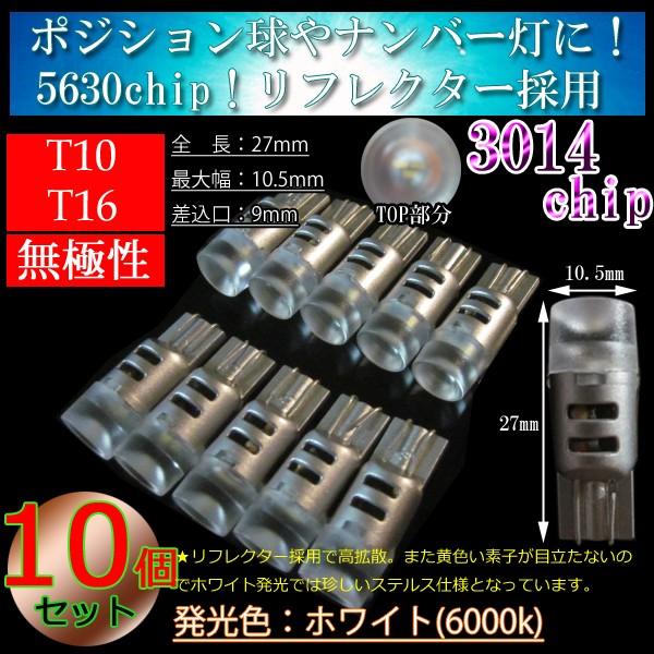 10個 T10 LED T16 LED 3014chip3連 LED ポジショ...