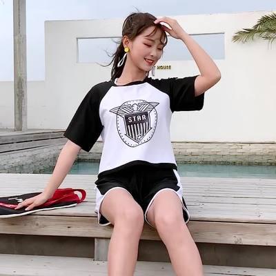 レディース 水着 スポーティ 3点セット Tシャツタイプ スポーツ カジュアル ストリート系 ショートパンツ タンキニ ビキニ 大きいサイズ