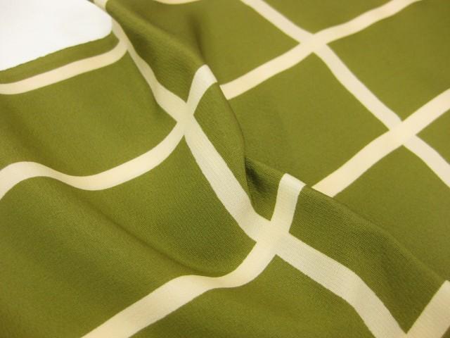 日本製・正絹 格子柄・帯揚げ−グリーン
