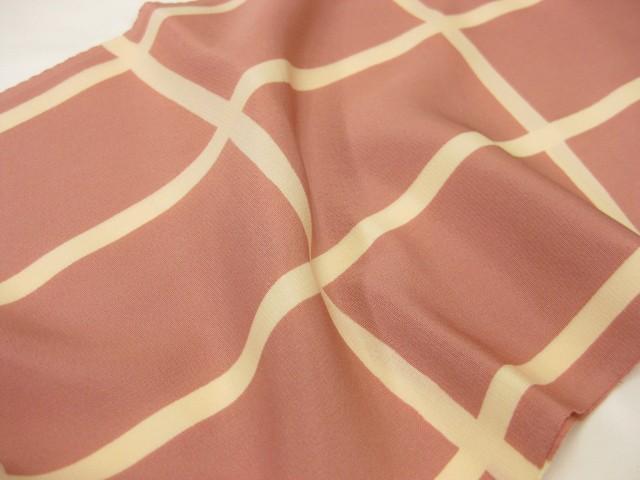 日本製・正絹 格子柄・帯揚げ−ピンク