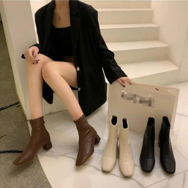 ショートブーツ レディース ソックスブーツ 靴 ...
