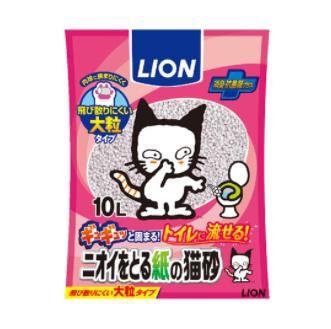 ニオイをとる紙の猫砂 10L ライオン トイレに流せ...