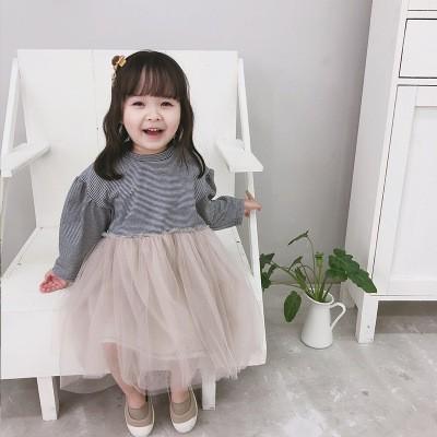 ボーダーチュールワンピース 韓国子供服