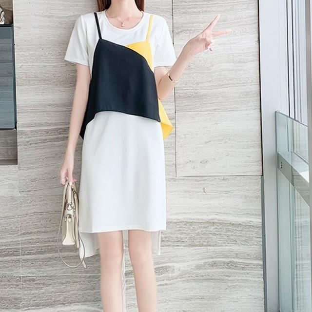 プルオーバー ワンピース 半袖 ツーピースドレス