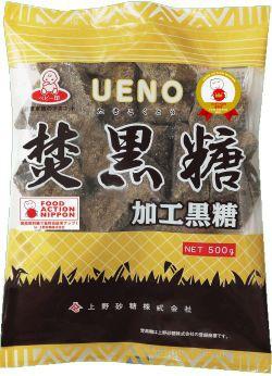 上野砂糖 固形焚黒糖 〔黒砂糖〕 500g x 10袋 (1...