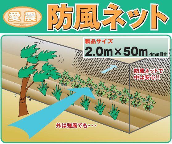防風ネット 4mm目 2m×50m 青 農業用ネット 鳥よ...