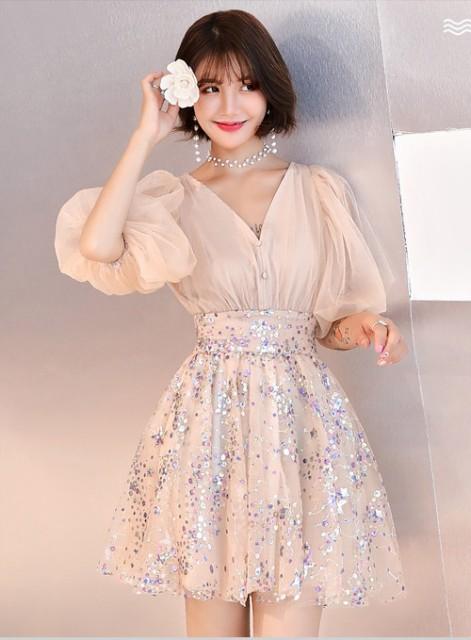 ドレス イブニングドレス パフスリーブ スパンコ...