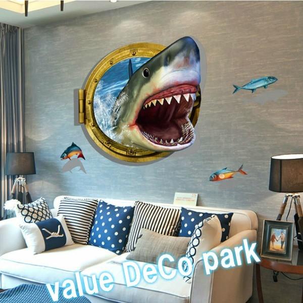 ウォールステッカー 窓 動物 海 トリックアート 3...