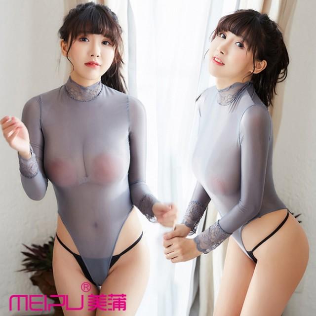 RE070 5色展開 長袖 ハイレグ レオタード 透け ス...