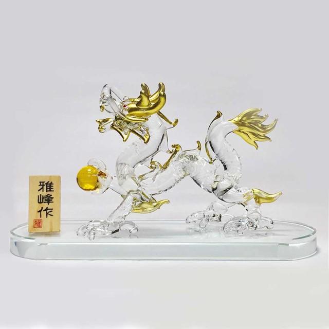 龍 ドラゴン ガラス 置物 風水 運気アップ/ 風水...