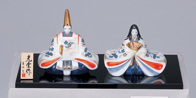 雛人形 コンパクト 陶器  染錦座雛