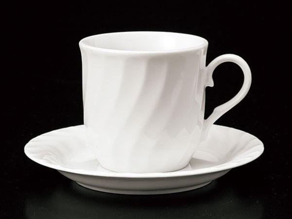セット 碗 皿/ ホワイトネジリコーヒーカップ&ソ...