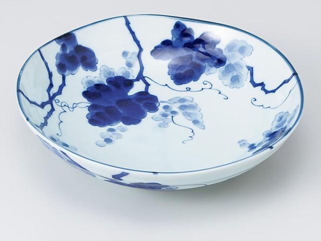 【和食器 パスタ皿 丸皿】藍染ぶどう 6.8麺皿