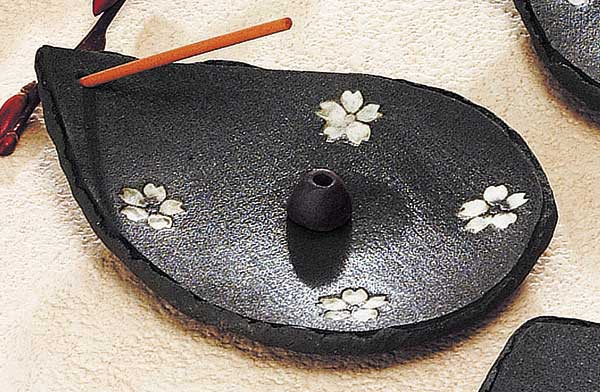 黒吹桜楕円香皿(チップ付)